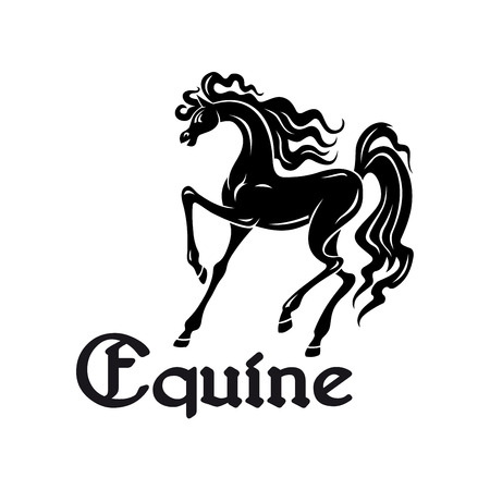 horse show: Black silhouette of elegant arabian mare with high raised legs at a passage movement. Use as horse breeding farm symbol or horse show theme design Illustration