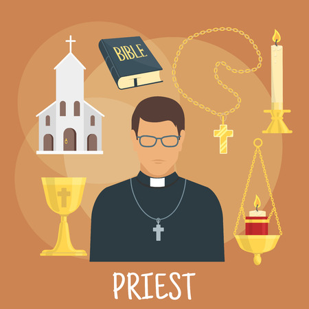homily: Young catholic priest icon wearing black cassock, glasses and cross with flat symbols of church building, the Bible, golden cup and candelabras with candles. Religious theme or profession design Illustration