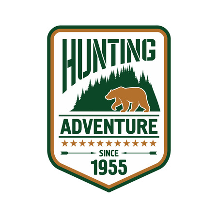 woody: Hunting and outdoor adventure badge design with bear on the front of woody mountains supplemented by stars, arrows and foundation date
