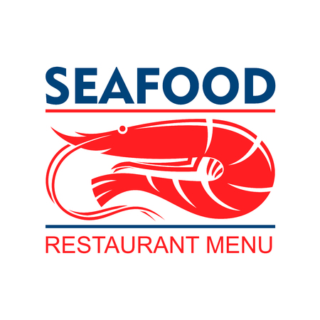 antennae: Seafood restaurant menu badge design template with marine red shrimp with white striped tail and long antennae Illustration