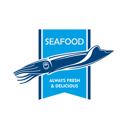 badge with ribbon: Fresh catch seafood icon with blue silhouette of swimming squid with retro forked ribbon on the background. Use as fish market badge or grill bar design