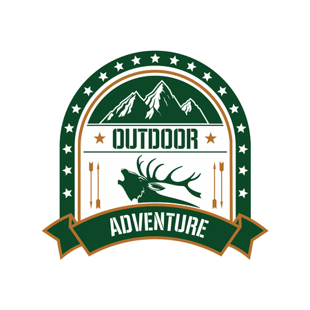 Adventure club symbol with profile of deer stag bellowing in rut, framed by a starry arch with mountain peaks on the top and ribbon banner below. Retro badge for adventure and expeditions theme design