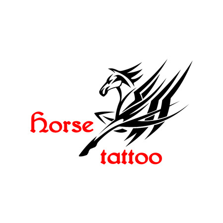 brutal: Running horse or pegasus symbol for tattoo or t-shirt print design usage with brutal arabian stallion decorated by tribal pattern in a shape of mane and wings Illustration