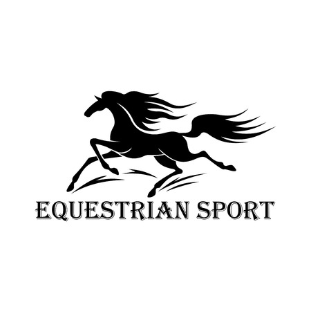 harness: Free wild stallion symbol for horse racing or motorsport design usage with black silhouette of running horse and caption Equestrian Sport below