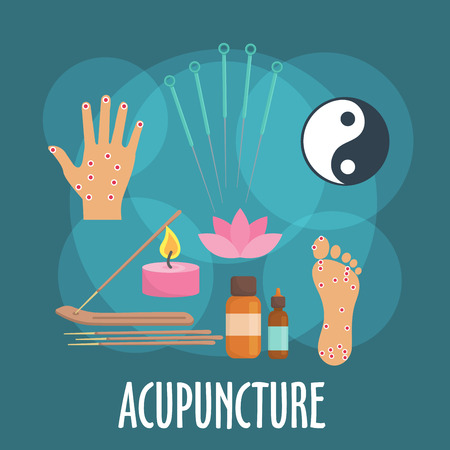 oriental medicine: Alternative medicine icon with flat symbols of acupuncture needles, foot and palm with acupoints, incense sticks in holder, candle and essential oil bottles, yin and yang sign, pink flower of sacred lotus. Oriental medicine or spa salon design