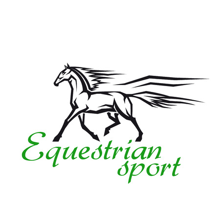 thoroughbred: Horse racing and gambling symbol for equestrian sport design with galloping horse of a thoroughbred breed in simple geometric style
