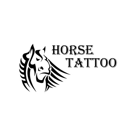 forelock: Tribal horse tattoo design element with a head of dutch heavy draft stallion with large muzzle and curly forelock