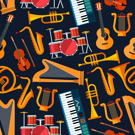 String and percussion, brass and keyboard seamless flat musical instruments pattern with saxophones, trumpets and horns, drums, guitars and violins, harps, synthesizers and lyres on dark blue background. Music entertainment theme design