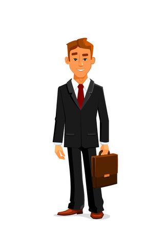 Handsome giovane uomo d'affari cartone animato in un elegante abito nero con cravatta rossa è in piedi con valigetta di pelle in mano. Grande per gli uomini d'affari avatar e impiegati di progettazione