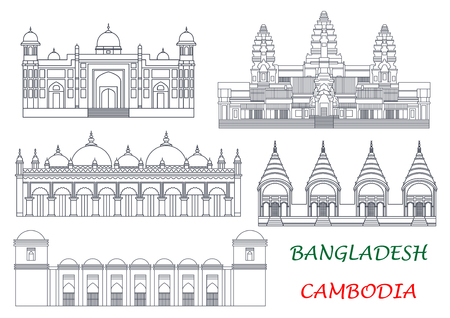 wat: Ancient temples and mosques of Cambodia and Bangladesh thin line icons for exotic tourist attractions and travel concept design with Angkor Wat and Dhakeshwari National Temples, Sixty Dome Mosque, Lalbagh Fort and Star Mosque