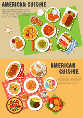 american food: American picnic dinner with fast food and barbecue dishes flat icon with hot dogs and cheeseburger, pizza, french fries and kebabs, grilled meat, clams and vegetables, beans with bacon and hot sandwiches, meat loaf and seafood rice, cobb salad, donuts and Illustration
