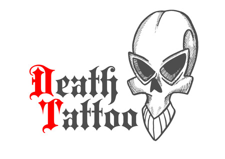 frontal: Gothic stylized skull of ancient monster or demon sketch icon with cracked frontal bone. Decorative cranium for tattoo or jewelry design usage