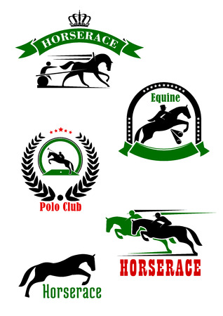 stars and symbols: Horseracing, dressage and polo club sporting heraldic symbols with jumping horse over hurdle and running racehorses with jockeys, cart and polo player with mallet, adorned by wreath, ribbon banners, stars and crown