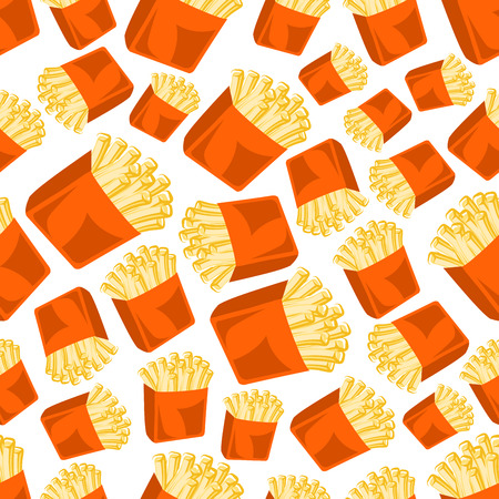 deep fried: Tasty and crispy french fries pattern with seamless cartoon illustration of deep fried potato vegetable slices in takeaway orange paper cups on white background. Fast food theme or kitchen interior design