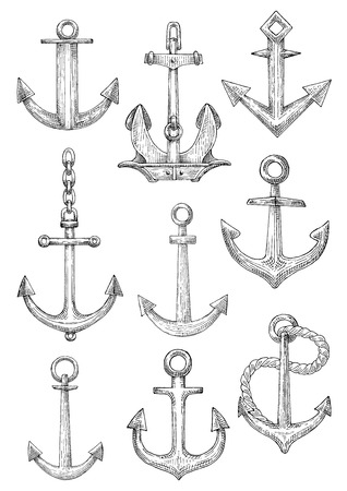 naval: Old fashioned decorative sailing ships admiralty anchors and large naval anchor with chain and twisted rope rodes. Marine club symbol or nautical theme design