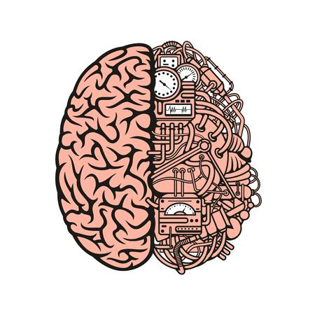 Símbolo del cerebro robot con los equipos y los medidores mecánicos, conectadas por intrincado sistema de tubos y cables. La inteligencia artificial, mecánica creativas y diseño de la ciencia