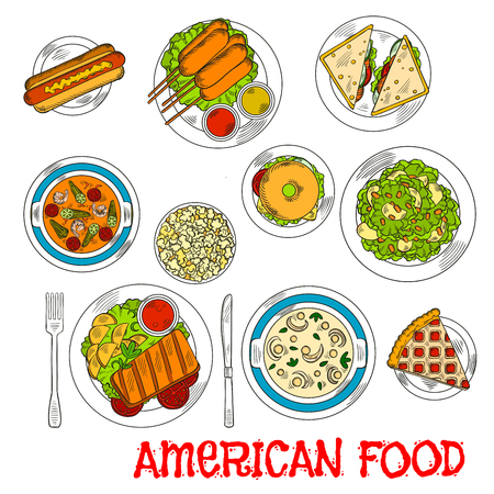 cream cheese: Popular american food colored sketch with grilled beef steak, hot dog and bagel cheeseburger, corn dogs and salmon sandwiches, seafood tomato and cream cheese soups, apple salad with nuts and berry pie with popcorn