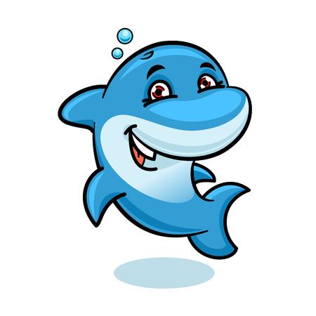 陽気な漫画明るい青い大西洋バンドウイルカのイルカのキャラクター トリックを示し、水で遊ぶ。海洋動物ショーや夏の休暇のシンボル、海の生活