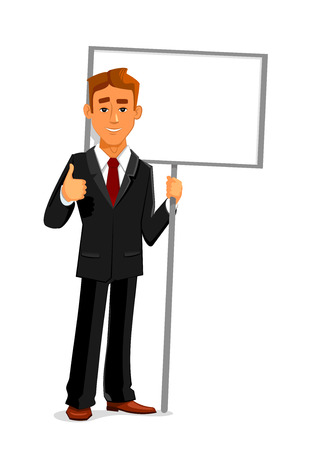 presentation board: Cartoon smiling businessman is holding a blank sign board with copy space and showing thumb up sign. Business concept for advertising, presentation or announcement design