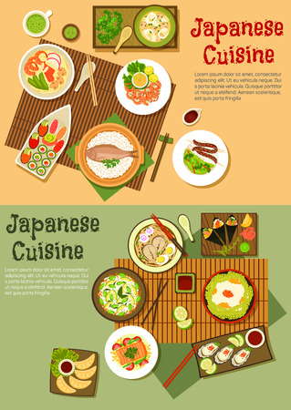 ramen: Seafood menu of japanese cuisine icon with sushi, sashimi and oysters, rice topped with caviar and steamed fish, udon and ramen soups, fried dumplings and blood sausage skewers, teriyaki salmon and shrimps,  avocado rice and squid salads. Flat style