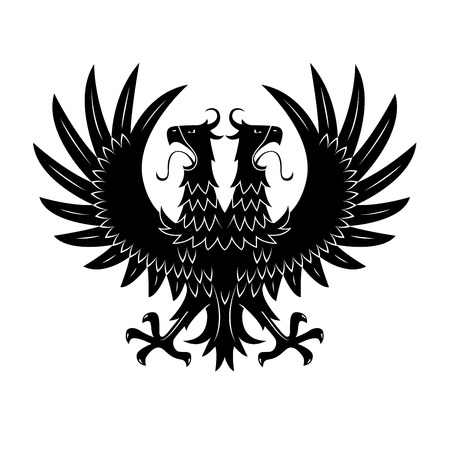 Double headed black eagle symbol with raised wings and wide open beaks with long tongues. Medieval royal heraldry or coat of arms design usage