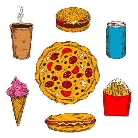 soda: Pepperoni pizza icon with mushrooms, tomatoes and olives toppings surrounded by fast food cheeseburger and hot dog, takeaway coffe and french fries, strawberry ice cream cone and can of soda drink. Sketch style Illustration
