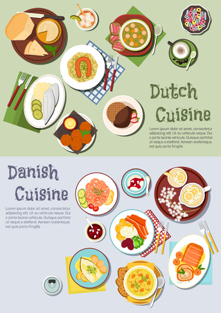 dutch: Festive dishes flat icon of dutch and danish cuisines with cheese and baked pork, herring and cod with vegetables, pea soup and potato mash with sausages, shrimp cocktail and chicken soup, bitterballen and stroopwafels, rice pudding and candies