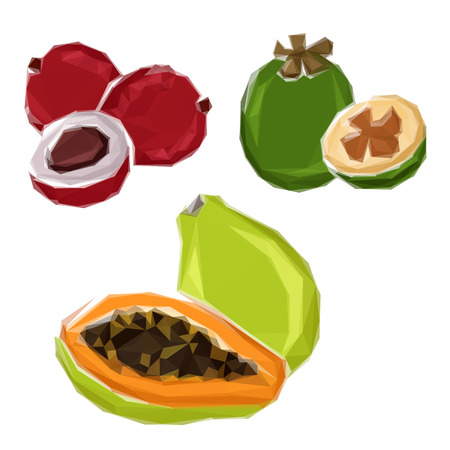 greengrocery: Abstract 3D polygonal tropical fragrant papaya, ripe green feijoa and red lychee fruits. Low poly stylized organic healthy fruits for juice pack or fruity desserts recipe design