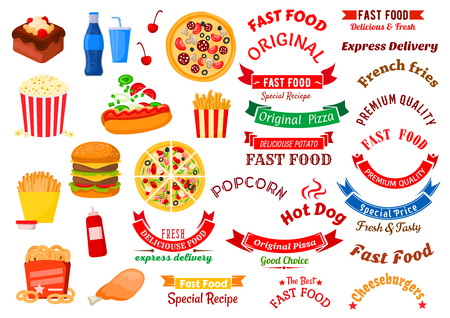 onion rings: Fast food cafe icons for sign board or delivery service design usage with cheeseburger, hot dog and chicken leg, french fries, pizza and onion rings with sauces, popcorn and chocolate cake with soft beverages, ribbon banners with stars and headers Illustration