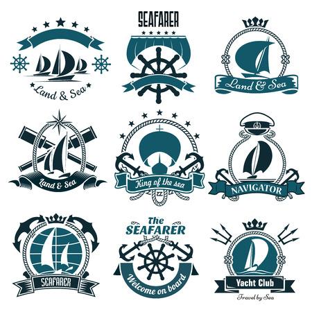Żeglarstwo statków i łodzi sportowych ikony klubu jachtowego, sportów żeglarskich i morskich projektu podróży w tym hełmy i kotwice, okulary szpiegowskie i trójzębami, otoczony wstążka i lin, kompasy i gwiazdy, korony i czapce kapitana
