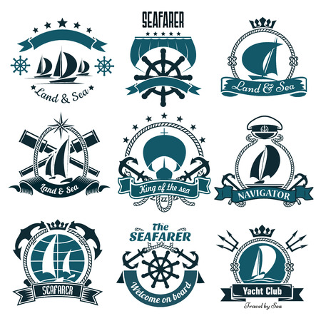 captain cap: Sailing ships and sporting sailboats icons for yacht club, sailing sports or marine travel design including helms and anchors, spy glasses and tridents, framed by ribbon banners and ropes, compasses and stars, crowns and captain cap Illustration