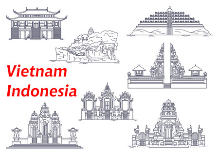 Ancient buddhist and hindu temples of Indonesia and Vietnam icons with Borobudur and Pura Pulaki Temples, Pura Besakih, Tanah Lot, Rambut Siwi and Petitenget Temples, Vinh Nghiem Pagoda. Thin line style