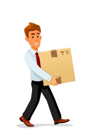 sourire Enthousiaste caractère livraison de bande dessinée de l'homme est porteur d'un emballage en carton volumineux. Parfait pour la conception des services de livraison ou thèmes de la profession Vecteurs