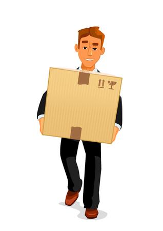 Bezorgservice, post drager of postbode beroepen design. Elegante jonge cartoon man karakter in zwart pak is het leveren van een pakket aan ontvanger