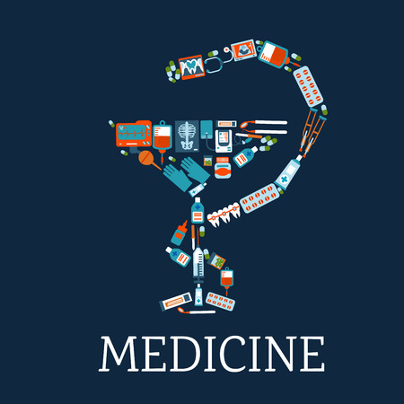 x rays: Medicine and pharmacy symbol with bowl of hygeia silhouette composed of flat icons of medicines, stethoscope and blood bags, dentist instruments and teeth with braces, x rays, blood pressure and ecg monitors