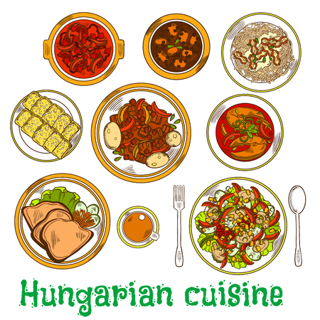Traditional hungarian meat stew sketch icon served with vegetable salads seasoned with vinegar, bean and fish soups, pasta topped with cottage cheese and bacon, goose liver and chimney cakes with tea