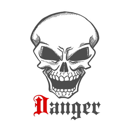 hellish: Hellish grin of dangerous human skull sketch drawing for tattoo or t-shirt print design usage with laughing skeleton character and caption Danger Illustration