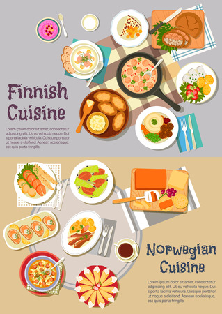 cheese bread: Scandinavian cuisine dinner flat icon with finnish rye and rice pies, sausage sauce and meat balls, salmon soup, pickled herrings, cheese bread and berry porridge, norwegian cheese and salmon steaks, lamb ribs and beef stew, potato dumplings and cakes wit