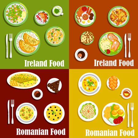 casserole: Traditional irish full breakfast and romanian mamaliga flat icons served with pancakes and corned beef salad, pigs fits and meatball soup, grilled fish and potato casserole, vegetable and meat stews, sweet bread, chocolate cake and merengue dessert Illustration
