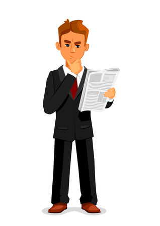 article of clothing: Cartoon thoughtful businessman is reading newspaper. Full length illustration of standing young man in a business suit is reading newspaper and touching a chin in confusion