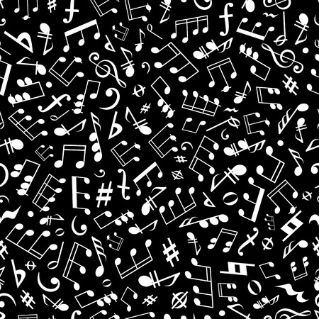 entertainment background: Seamless white musical notation pattern on black background for music, arts and entertainment themes design with scattered musical notes, marks and symbols