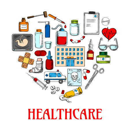 medical drawing: Colored sketch symbol of a heart made up of healthcare and medical icons such as medicine bottles and medical instruments, pills and syringes, blood bag and heart, hospital and ambulance, clipboard and glasses, ultrasound baby and skull structure Illustration