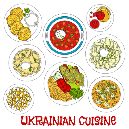 meatless: Meatless dishes of ukrainian cuisine for Lent sketch symbol with vegetarian borscht and soup, potato dumplings and pancakes with sour cream, fried potato with fresh vegetable salad and toasts, cottage cheese fritters and deep fried pastries