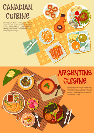 tarts: Barbecue dishes of canadian and argentine cuisine symbol with grilled beef steaks, asado sausages and liver, french fries with bacon and empanadas, creamy and thick soups, butter tarts with maple syrup and mate with pancakes and ice cream
