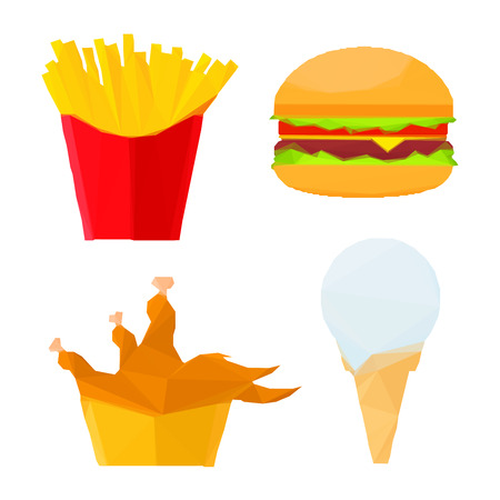 vanilla ice cream: Low poly stylized geometric cheeseburger with fresh vegetables, deep fried chicken and french fries in paper cups, melted vanilla ice cream cone icons. Great for fast food restaurant menu or interior design