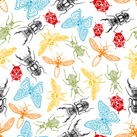 wasps: Tribal ornamental insects seamless background with colorful pattern of butterflies and bees, ladybugs and wasps, stag beetles and fireflies, adorned by swirling elements Illustration