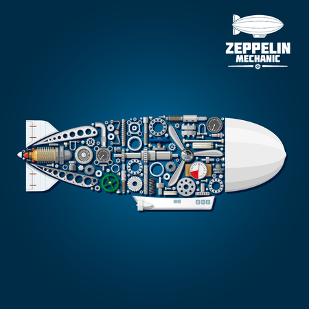 gear symbol: Mechanical silhouette of zeppelin airship symbol with modern gondola, rudder and envelope composed of propeller and turbine, gear wheels and bearings, pressure hoses and gauges, pilot control wheel, valve handwheels and fasteners