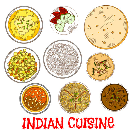 chutney: Traditional indian vegetarian thali sketch icon served with flatbread, fried and steamed rice, tomato chutney with garlic and various of curry with beans, yogurt and vegetables, lentil and spicy herbs