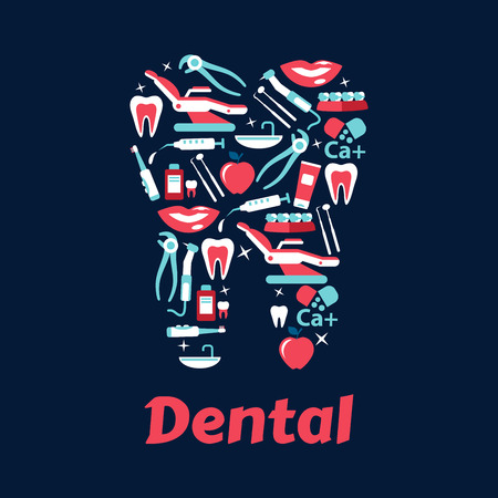 smiles teeth: Dentistry flat icons in a shape of a tooth with dentist chairs and instruments, healthy teeth and braces, toothbrushes and toothpastes, mouthwashes and vitamins, apples and smiles Illustration