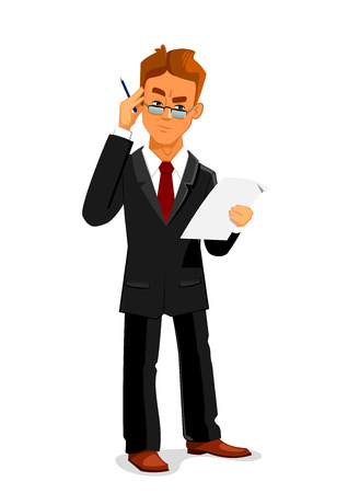 contract signing: Cartoon pensive businessman in black business suit and glasses is attentively reading a contract or commercial agreement. Business documentation, paperwork, contract signing design usage Illustration